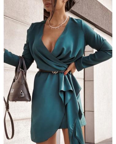 Zwiewna sukienka z długim rękawem butelkowa zieleń