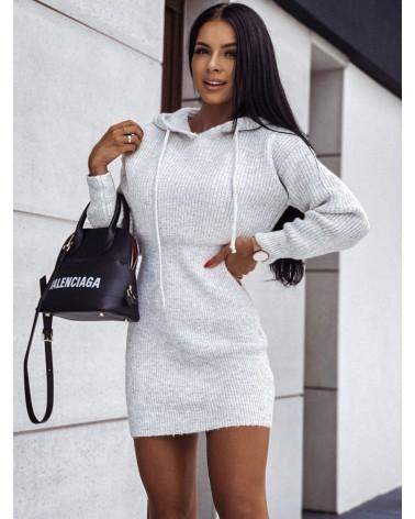 Sukienka sweterkowa z kapturem szara