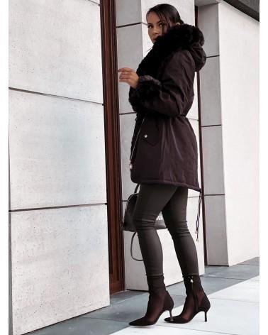 Ocieplana kurtka parka z futerkiem czarna
