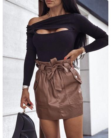 Bawełniana bluzka basic z wycięciami czarna