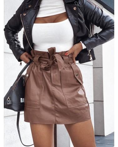 Mini spódnica wiązana w pasie brązowa