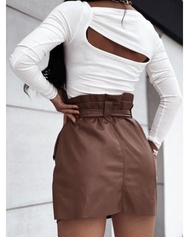 Bawełniana bluzka basic z wycięciami ecru