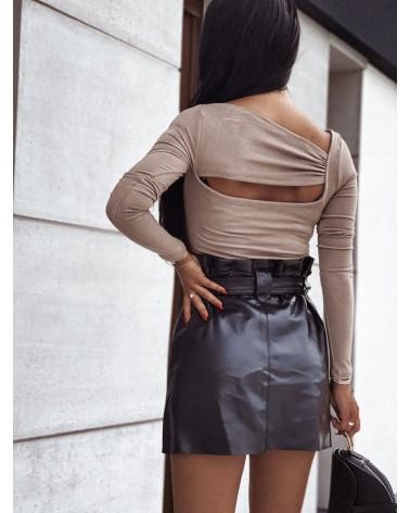 Bawełniana bluzka basic z wycięciami beżowa