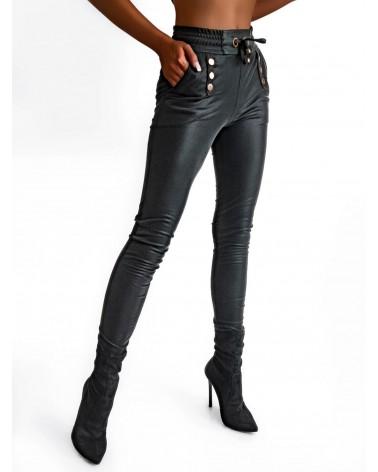 Wyszczuplające spodnie wiązane w pasie czarne