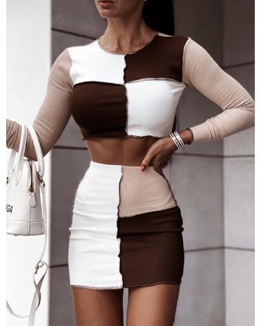 Dzianinowy komplet dwuczęściowy top i spódnica brązowy