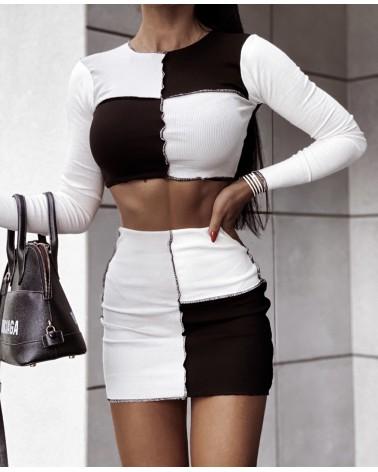 Dzianinowy komplet dwuczęściowy top i spódnica czarny