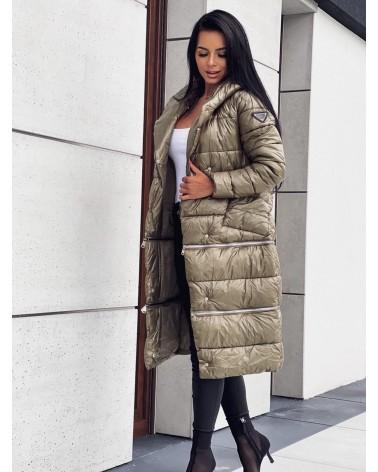 Długa kurtka puchowa z kapturem khaki