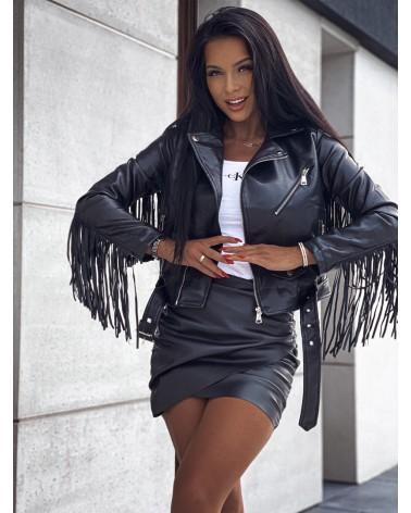 Ramoneska z frędzlami czarna