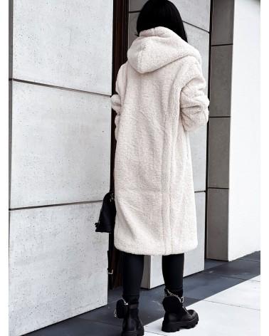 Pluszowy płaszcz ecru
