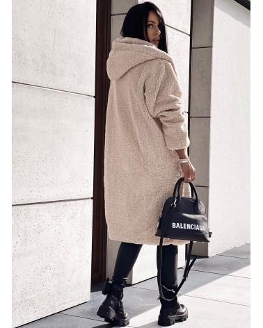 Pluszowy płaszcz beżowy
