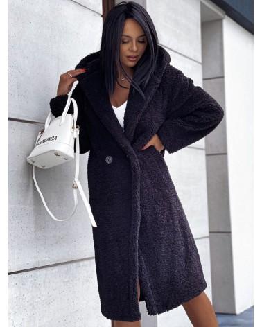 Pluszowy płaszcz czarny
