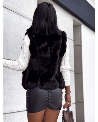 Krótka kamizelka futrzana na zipy czarna