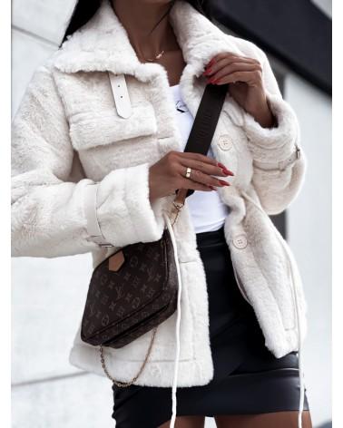 Krótki sweter z futerkiem w kolorze beżowym