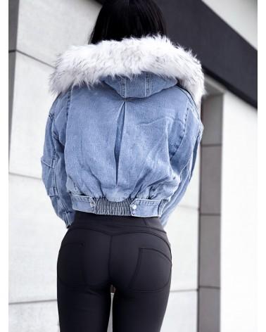 Ocieplana kurtka jeansowa z kapturem niebieska