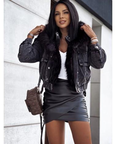 Ocieplana kurtka jeansowa z kapturem czarna