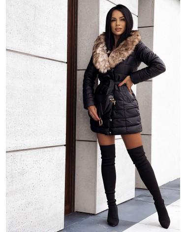 Puchowy płaszcz z futerkiem czarny