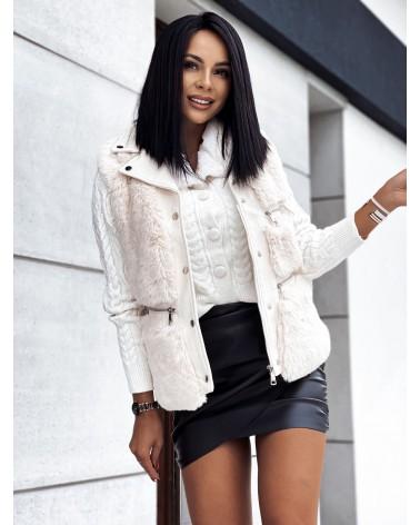 Krótki sweter z futerkiem w kolorze biały