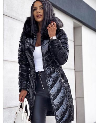 Błyszczący płaszcz puchowy z kapturem czarny