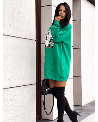 Długa bluza z nadrukiem zielona