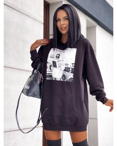 Długa bluza z nadrukiem czarna