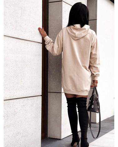 Długa bluza z nadrukiem beżowa