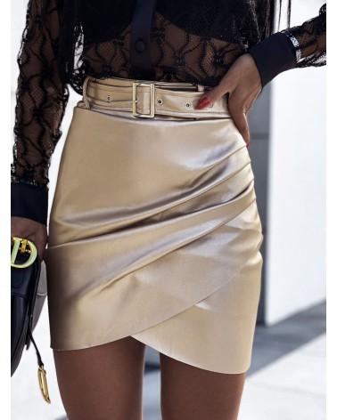 Asymetryczna spódnica skórzana z paskiem złota
