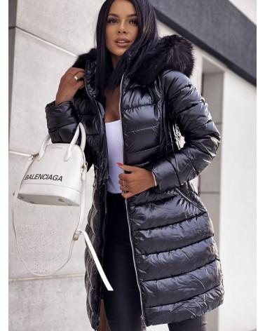Płaszcz puchowy taliowany czarny