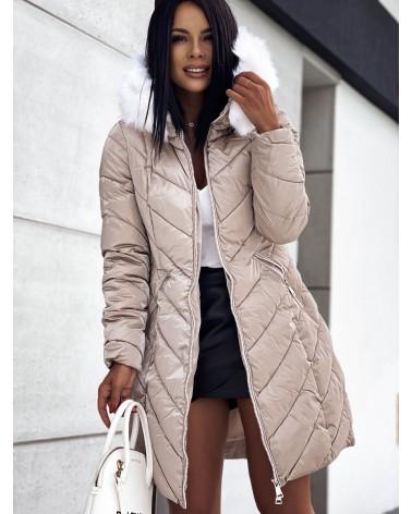 Beżowa kurtka z białym futerkiem