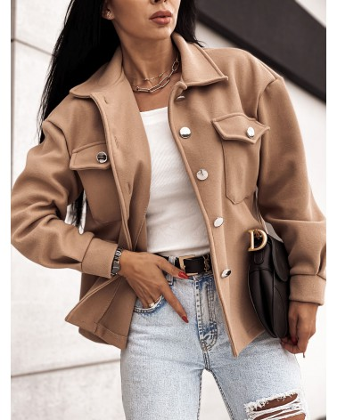 Elegancka kurtka koszulowa beżowa