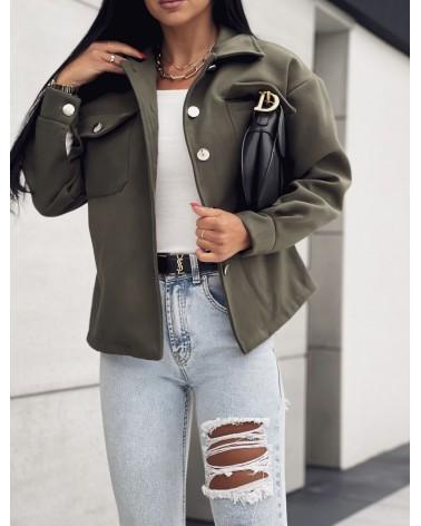Elegancka kurtka koszulowa khaki