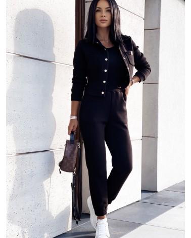 Trzyczęściowy komplet damski bawełniany czarny
