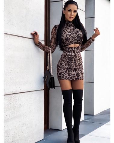Sukienka z przezroczystymi rękawami brązowa