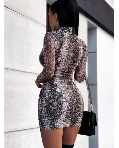 Sukienka z przezroczystymi rękawami popielata