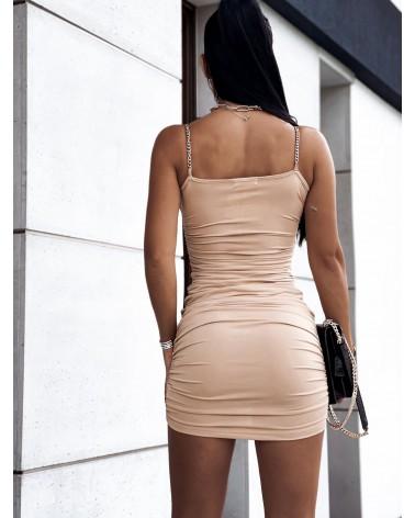 Marszczona sukienka na ramiączkach beżowa