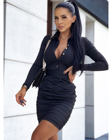 Sukienka z marszczonym dołem czarna