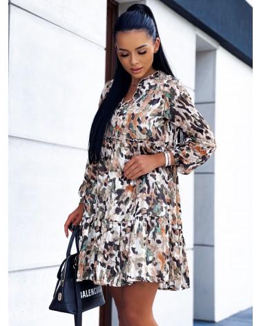Zwiewna sukienka z guzikami khaki
