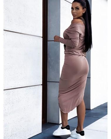 Asymetryczna sukienka midi z długim rękawem beżowa