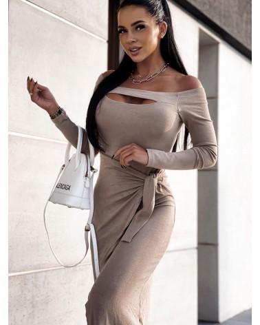 Długa sukienka z wycięciami beżowa