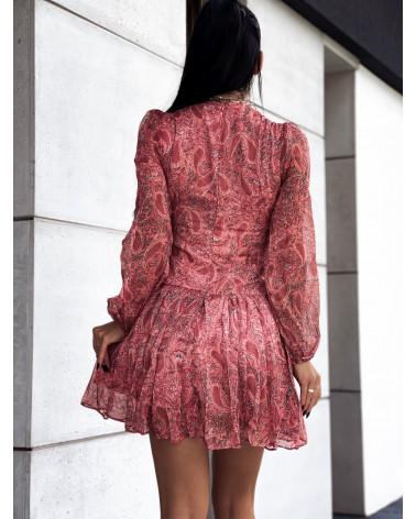 Gorsetowa sukienka z etnicznym wzorem koralowa