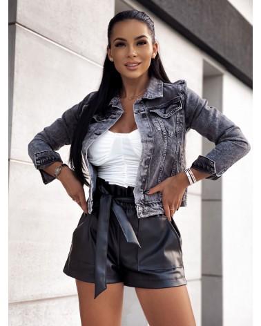 Szara kurtka jeansowa z cyrkoniami