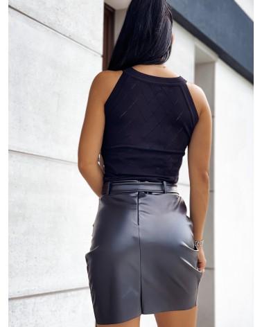 Bluzka z cyrkoniami czarna