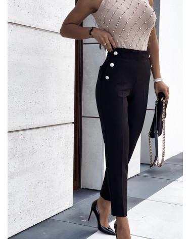 Spodnie ze złotymi guzikami czarne
