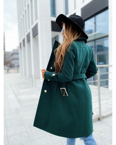 Płaszcz ze złotymi guzikami butelkowa zieleń