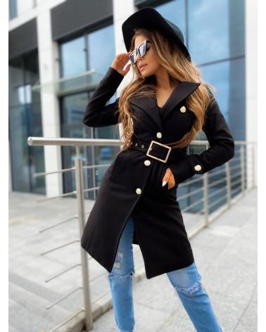 Płaszcz ze złotymi guzikami czarny