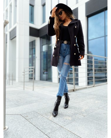 Elegancki krótki płaszcz czarny