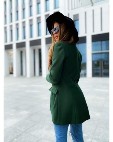 Elegancki krótki płaszcz zielony Premium