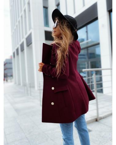 Elegancki krótki płaszcz bordowy