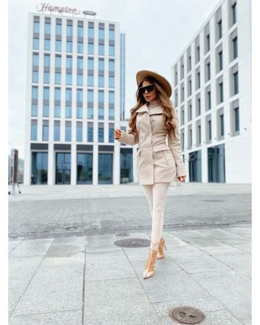 Elegancki krótki płaszcz kremowy Premium