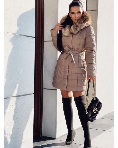 Płaszcz pikowany z kapturem beżowy