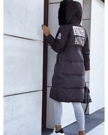 Długa kurtka parka z kapturem czarna